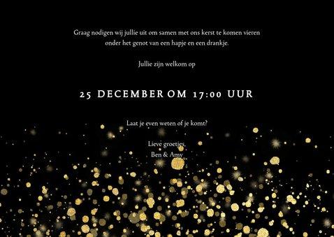 Stijlvolle uitnodiging kerstdiner gouden confetti 3