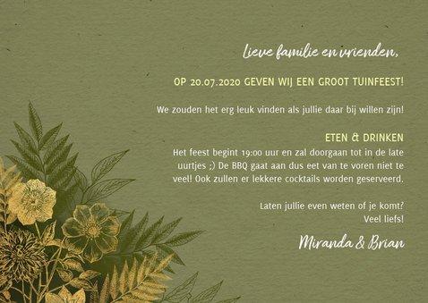 Stijlvolle uitnodiging tuinfeest gouden plantjes en takjes 3