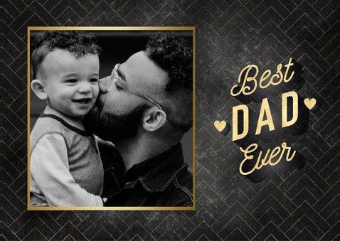 Stijlvolle vaderdag kaart Best Dad Ever met foto's & hartjes 2