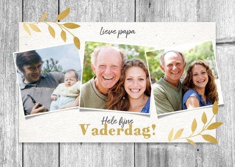 Stijlvolle vaderdag kaart net hout, gouden plantjes & foto's 2