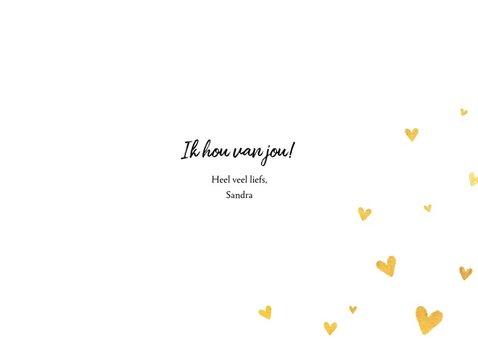 Stijlvolle valentijnskaart met grote foto en gouden hartjes 3