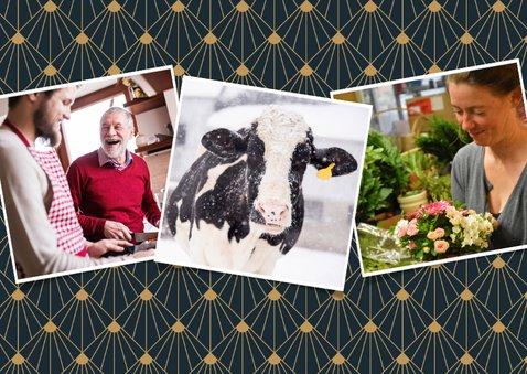 Stijlvolle zakelijke kerstkaart art-deco met 3 foto's 2