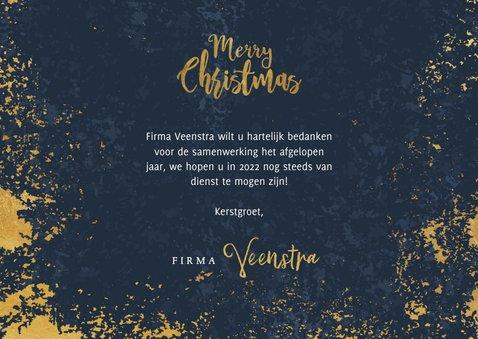 Stijlvolle zakelijke kerstkaart blauw, goud Merry Christmas 3