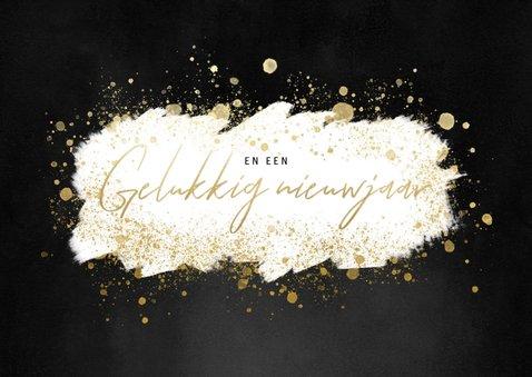 Stijlvolle zakelijke kerstkaart gouden 2021 en verf 2