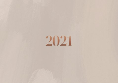 Stijlvolle zakelijke kerstkaart met fotocollage, logo & 2021 Achterkant