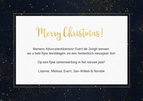 Stijlvolle zakelijke kerstkaart met goud, eigen foto en logo 3