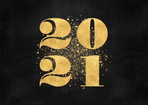 Stijlvolle zakelijke nieuwjaarskaart gouden spetters en 2021 2