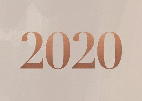 Stijlvolle zakelijke nieuwjaarskaart met foto's en 2020 2