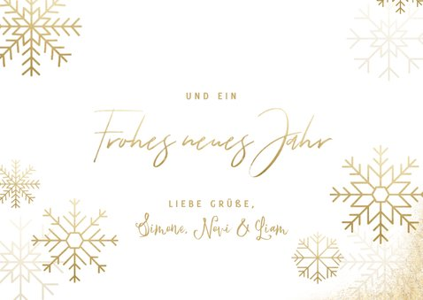 Stilvolle Weihnachtskarte goldene Schneeflocken & Fotos 3
