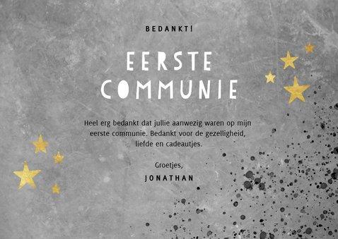 Stoer bedankkaartje eerste communie met beton en spetters 3