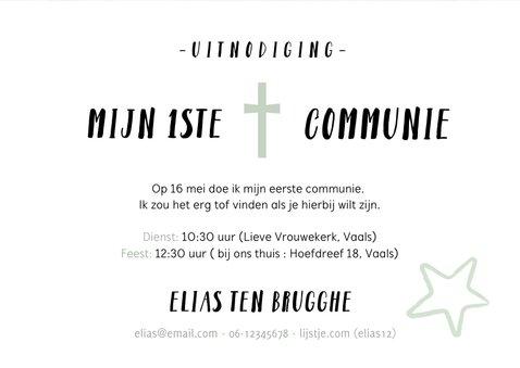 Stoere uitnodiging eerste communie met graffiti en foto 3