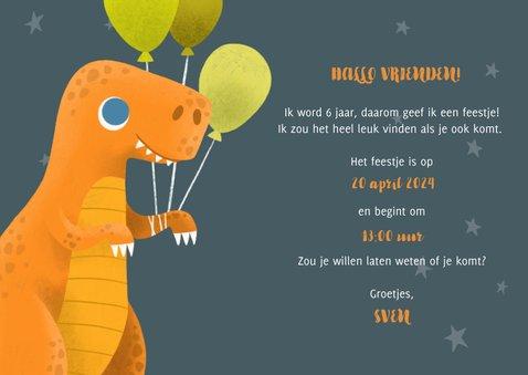 Stoere uitnodiging voor een kinderfeestje met dinosaurus 3