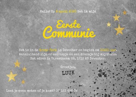 Stoere uitnodiging voor eerste communie beton en spetters 3