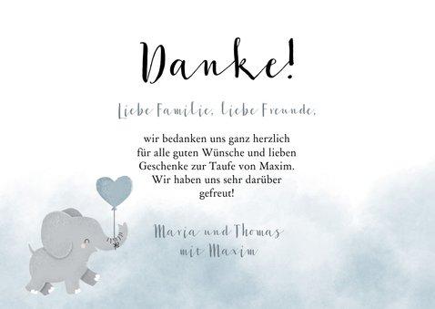 Taufe Dankeskarte blau Aquarell Elefant Luftballon & Fotos 3