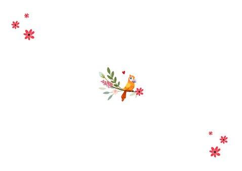 Taufkarte Danksagung Fotos, Blumen und Vogel Rückseite