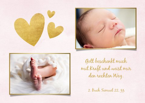Taufkarte Einladung rosa Fotos & Goldherzen 2