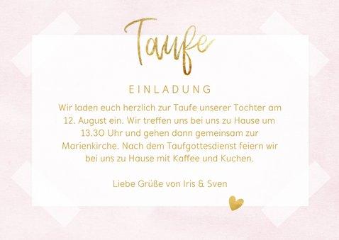 Taufkarte Einladung rosa Fotos & Goldherzen 3