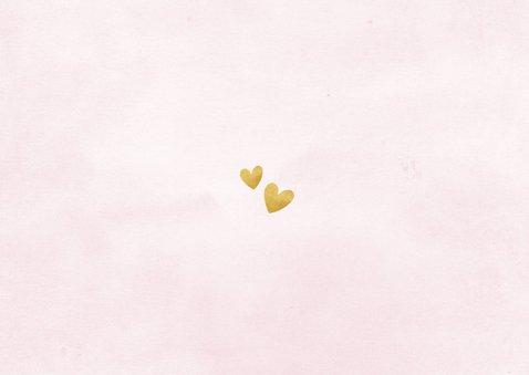 Taufkarte Einladung rosa Fotos & Goldherzen Rückseite