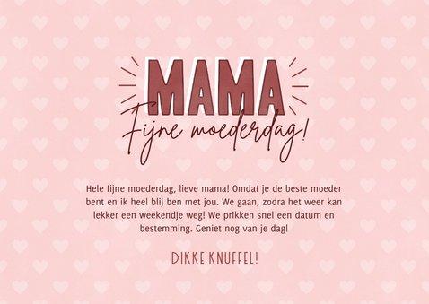 Tegoedbon moederdag kaart met kader en hartjes  3