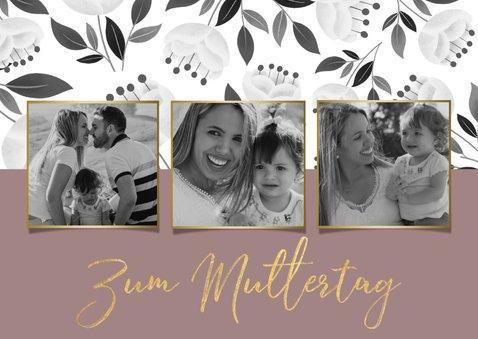 Trendy Muttertagskarte mit 3 Fotos und Blumen 2
