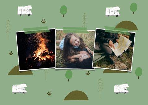 Trendy vakantiekaart camper en natuur elementen fotocollage 2