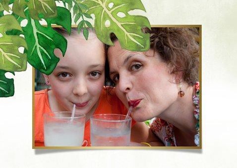 Tropische fijne vakantiekaart met bladeren en flamingo  2