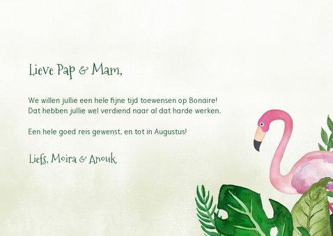 Tropische fijne vakantiekaart met bladeren en flamingo  3