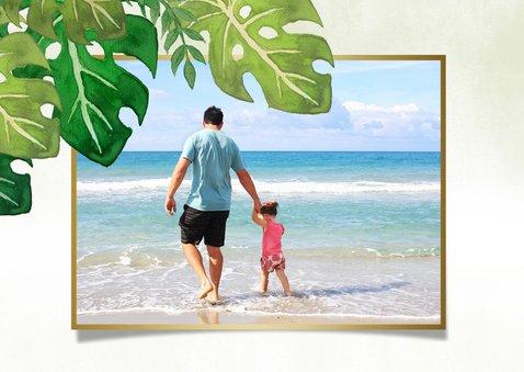 Tropische fotocollage vakantiekaart met bladeren en flamingo 2