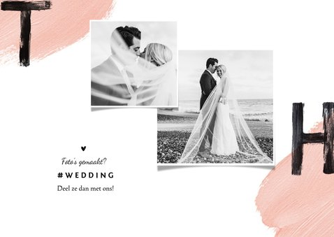 Trouwkaart bedankt wedding thnx fotocollage verf 2