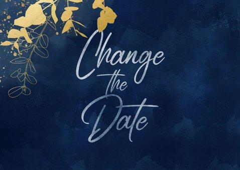 Trouwkaart Change the date blauwe waterverf gouden planten 2