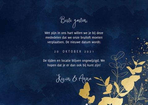 Trouwkaart Change the date blauwe waterverf gouden planten 3