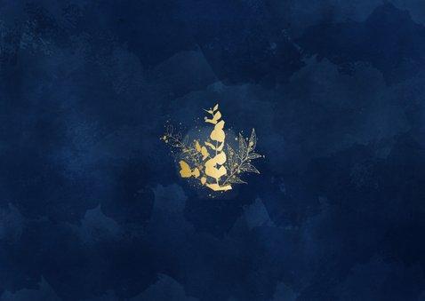 Trouwkaart Change the date blauwe waterverf gouden planten Achterkant