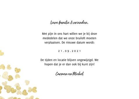 Trouwkaart Change the date gouden hartjes 3