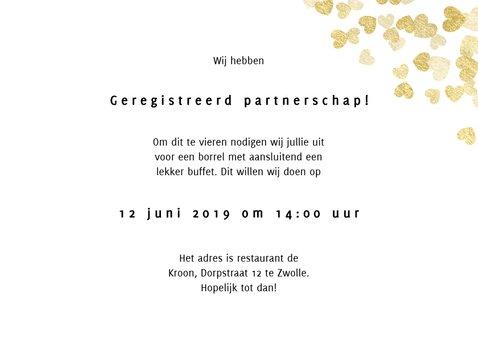 Trouwkaart geregistreerd partnerschap gouden hartjes foto's 2