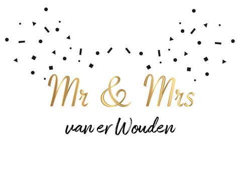 Trouwkaart mr & mrs goud zwart confetti 2