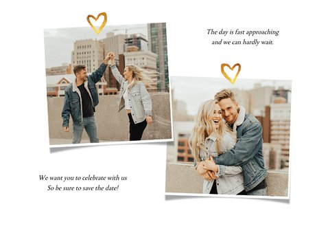 Trouwkaart Save the date fotocollage met goud 2