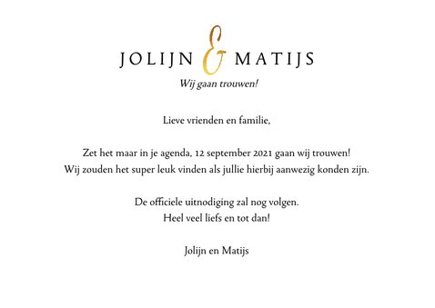 Trouwkaart Save the date fotocollage met goud 3