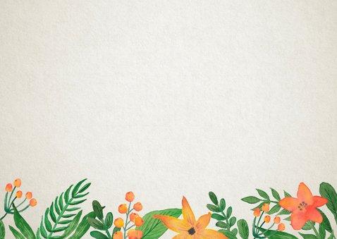 Trouwkaart tijdlijn retro bloem Achterkant