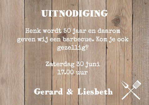 Tuinfeest uitnodiging hout label 3