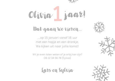 Uitnodiging 1 jaar foto meisje sneeuwvlokjes 3
