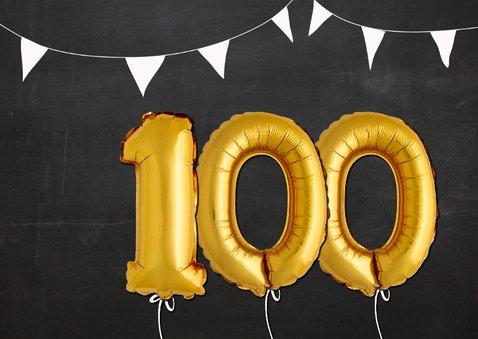 Uitnodiging 100 ballon goud op krijtbord 2