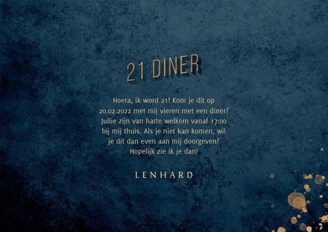 Uitnodiging 21 diner donkerblauw met gouden accenten 3