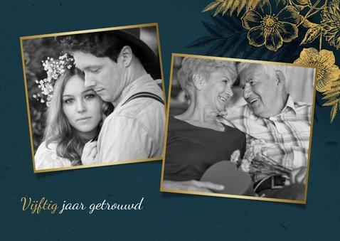 Uitnodiging 50 jarig jubileum met gouden bloemen & waterverf 2