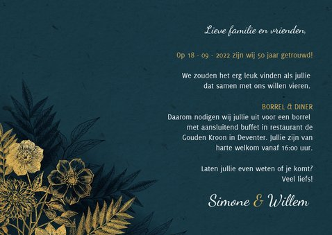Uitnodiging 50 jarig jubileum met gouden bloemen & waterverf 3