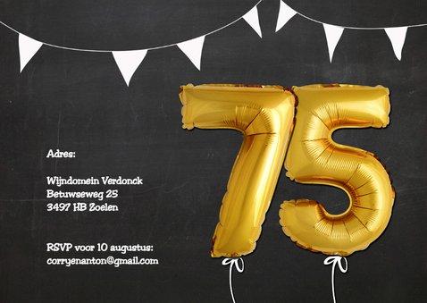 Uitnodiging Ballonnen goud 75 2