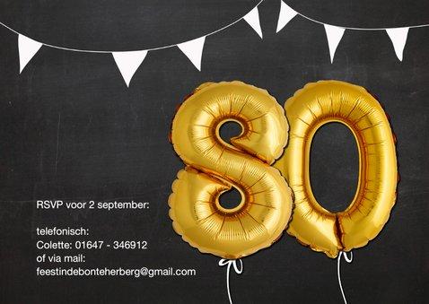 Uitnodiging 80 jaar Ballon goud krijtbord 2