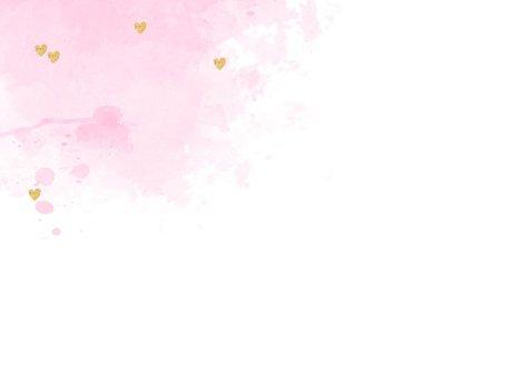 Uitnodiging babyshower aquarel hartjes roze  2