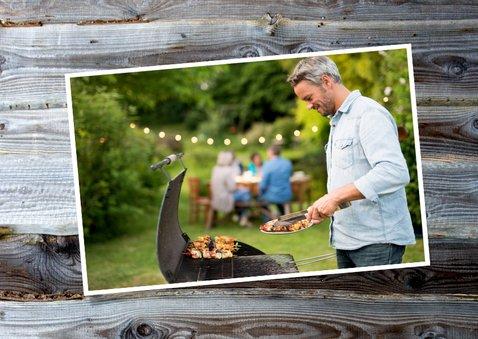 Uitnodiging barbecue sloophout en eigen foto 2