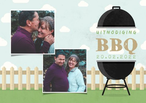 Uitnodiging BBQ met foto's, barbecue, hekje en wolken 2