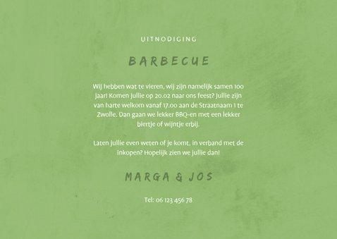 Uitnodiging BBQ met foto's, barbecue, hekje en wolken 3